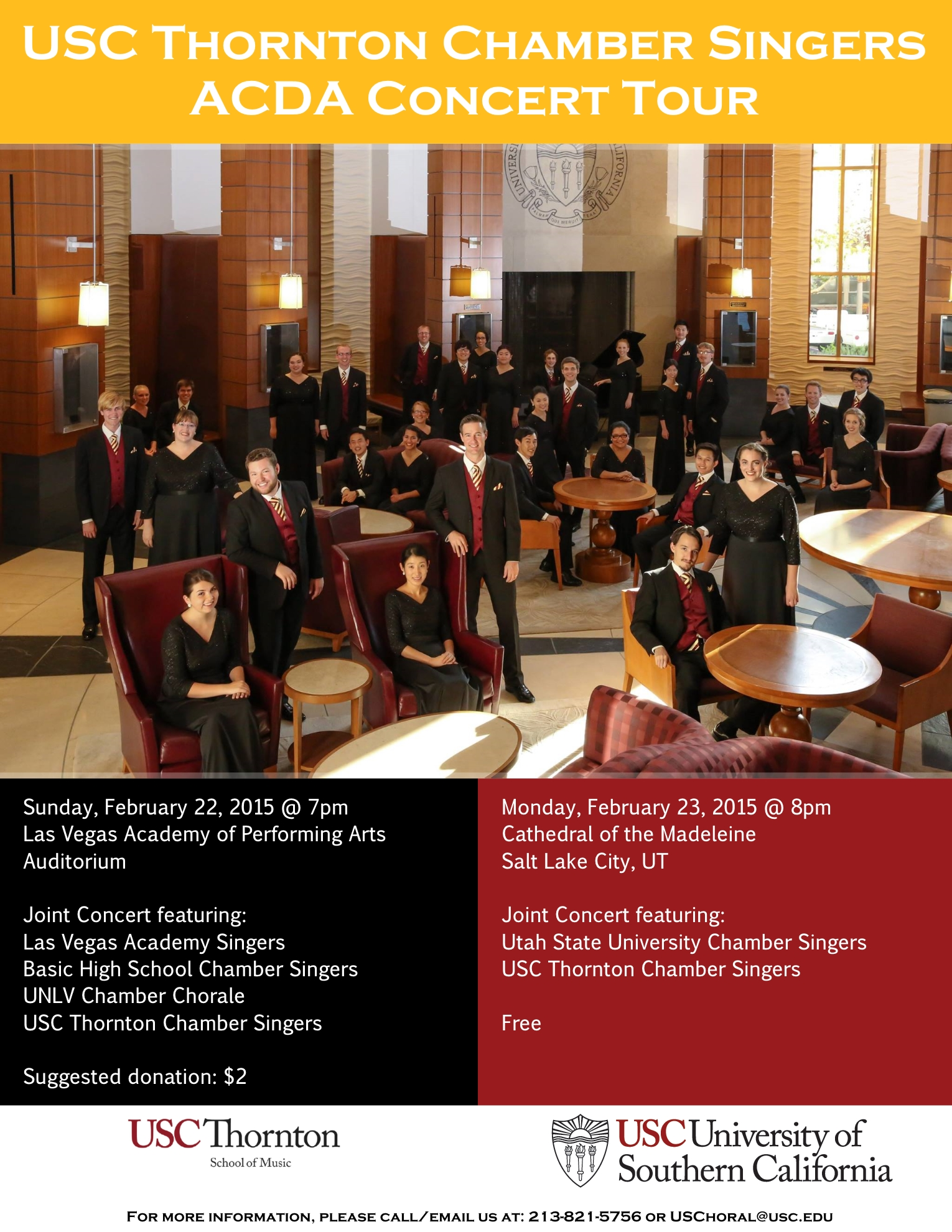 Joint Concert featuring USU Chamber Singers & USC Thornton Chamber Singers