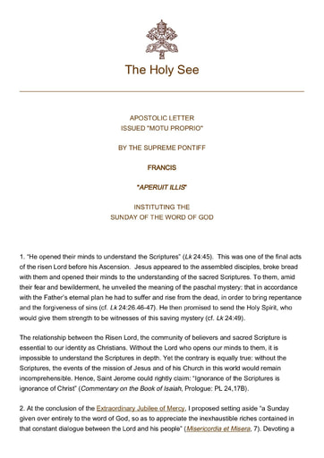 Pope Francis Apostolic Letter The Sunday of the Word of God